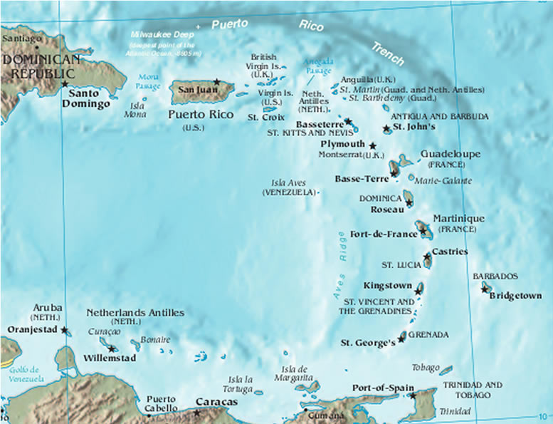 Luxury Caribbean Vacation Destinations Map
